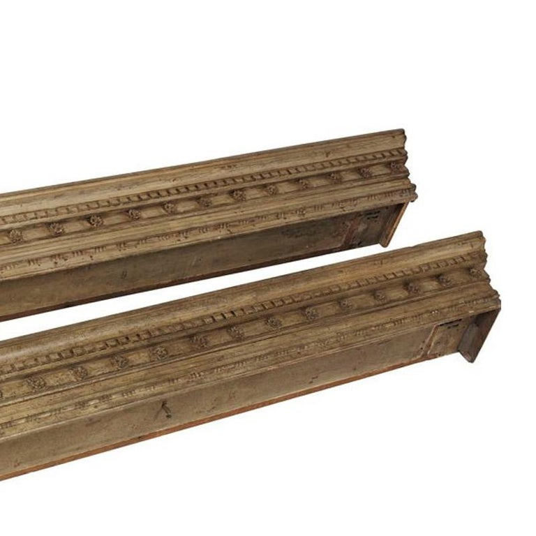 Pair of George IV Carved and Painted Pine Pelmets In Good Condition For Sale In Los Angeles, CA