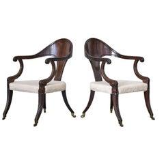 Pair of George IV Faux Rosewood Klismos Chairs
