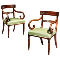 Pair of George IV Mahogany Carver Armchairs