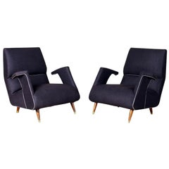 Pair of George Jetson Style Upholstered Club Chairs