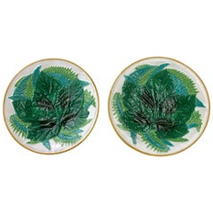 Pair of George Jones Majolica Leaf and Ferns Plates White Ground, English
