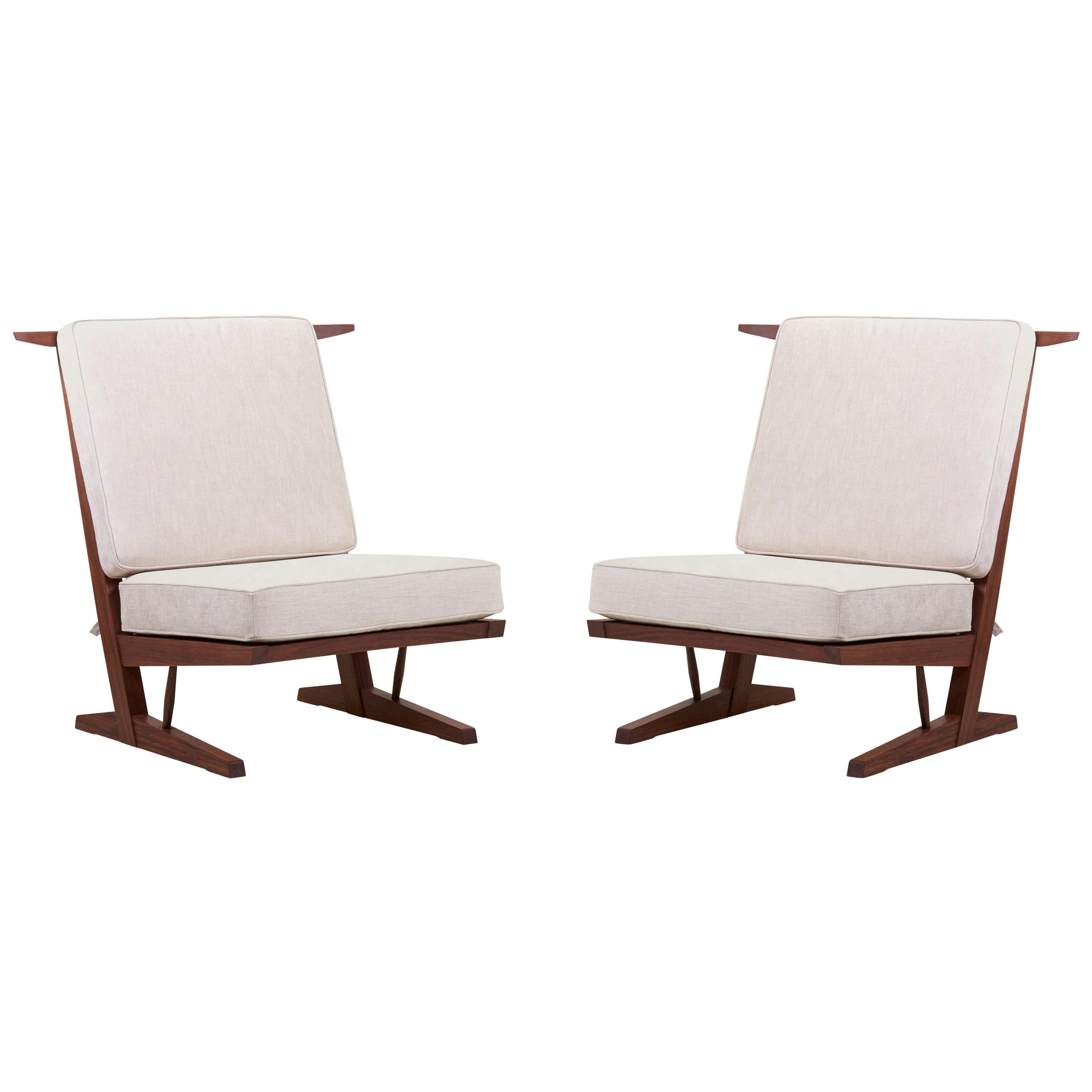 Pair of George Nakashima Conoid Lounge Chairs by Nakashima Woodworkers, US 2021