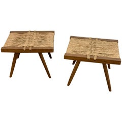 Pair of George Nakashima Grass Seat Stools