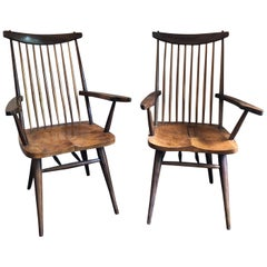 "Pair of George Nakashima Style ""New"" Amrchairs"