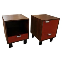 Pair of George Nelson Bedside Tables with Lacquered Fronts