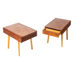 Pair of George Nelson Leather Top Night Stands