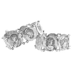 Pair of George Shiebler Sterling Homeric Medallion Bracelets