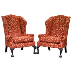 Pair of George Smith Chelsea Large Wingback Armchairs Claw and Ball Feet