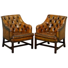 Pair of George Smith Restored Brown Leather Georgian Armchairs Desk