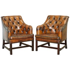 Pair of George Smith Restored Brown Leather Occasional Armchairs Desk