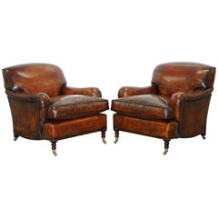 Pair of George Smith Signature Howard Cigar Brown Leather Armchairs