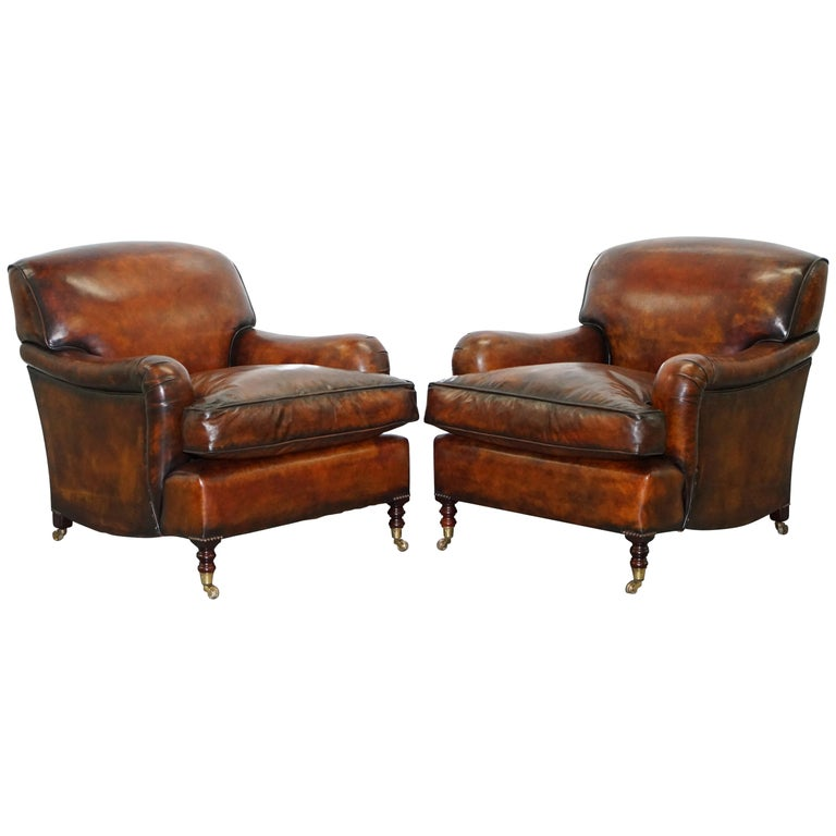 Pair Of George Smith Signature Howard Cigar Brown Leather