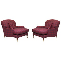 Pair of George Smith Signature Scroll Arm Howard Club Armchairs