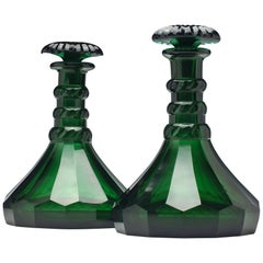 Pair of George V Green Glass Ship Decanters, circa 1920