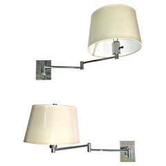 Pair of George W. Hansen Chrome Swing Arm Wall Lamps