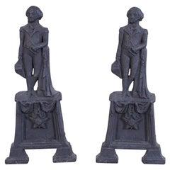 Pair of George Washington Cast Iron Andirons