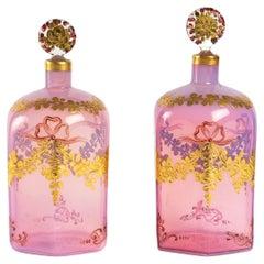 Pair of Georges de Pigeon Opaline Bottles