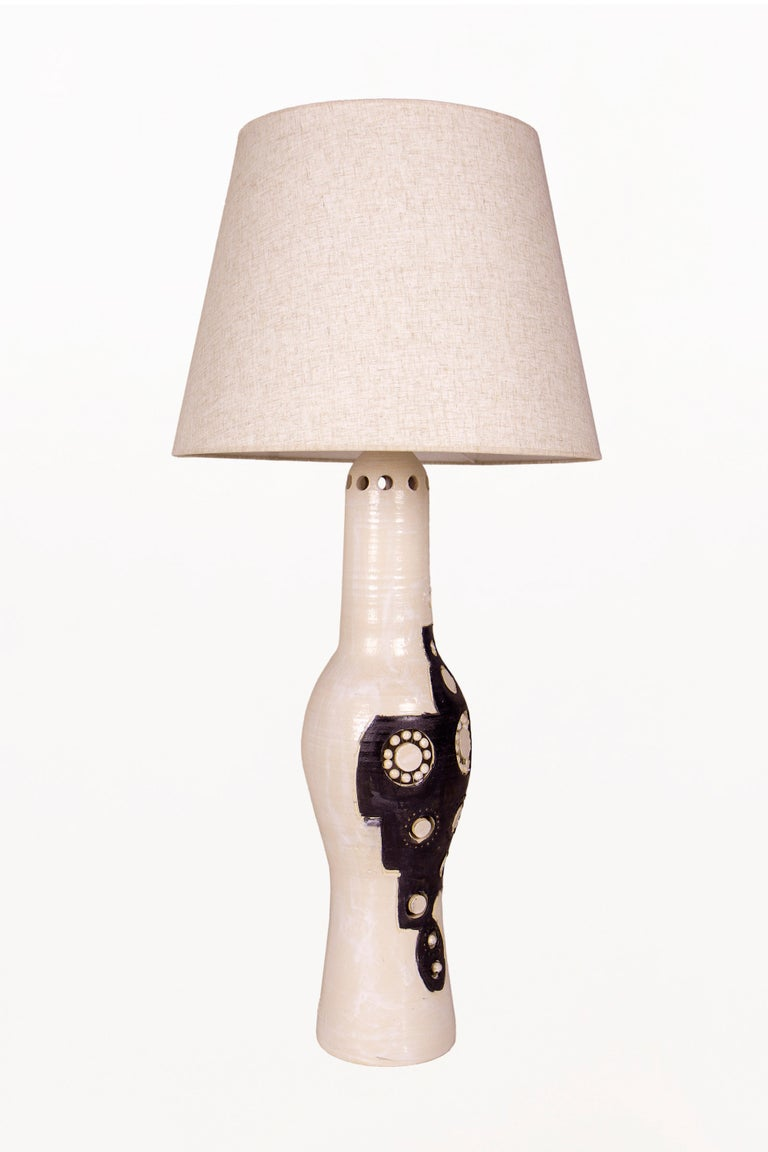 20th Century Pair of Georges Pelletier Ceramic Table Lamps, circa 1970, France For Sale