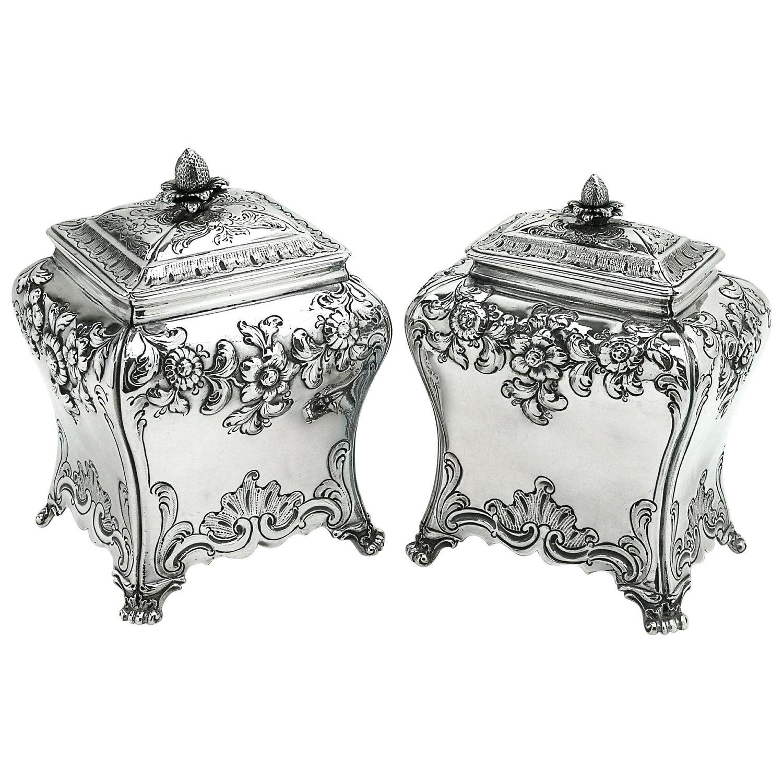 Pair of Georgian Antique Sterling Silver Tea Caddies 1761 Tea Caddy Boxes