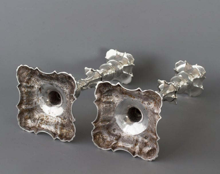 Pair of Georgian Cast Silver Candlesticks, London 1757 by John Cafe For Sale 9