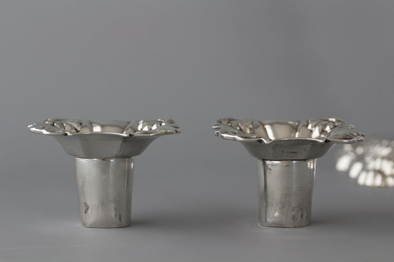 Pair of Georgian Cast Silver Candlesticks, London 1757 by John Cafe For Sale 2