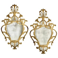 Pair of Georgian Chippendale Style Giltwood Mirrors