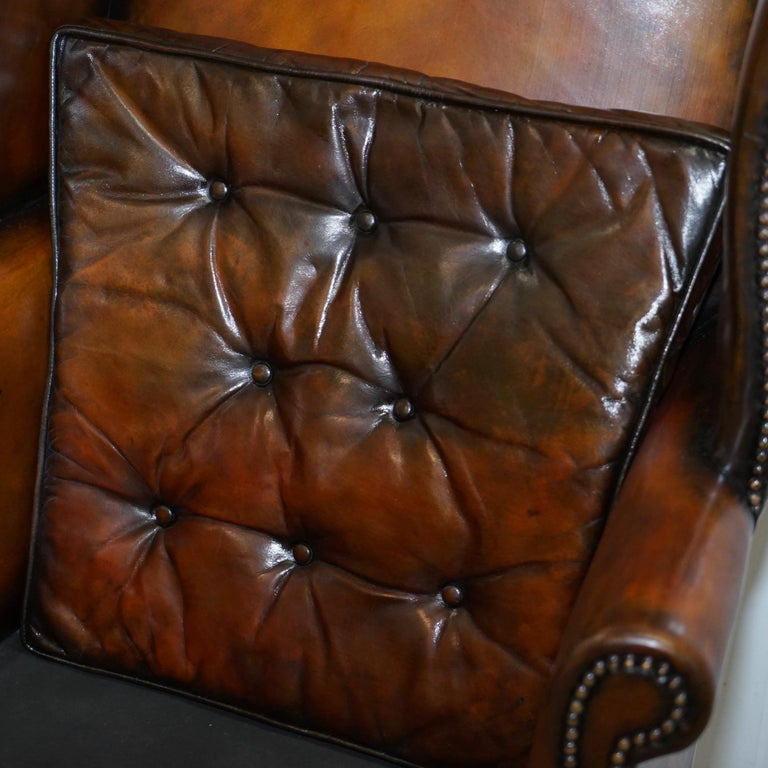 Pair of Georgian, circa 1820 Restored Hand Dyed Brown Leather Wingback Armchairs For Sale 4