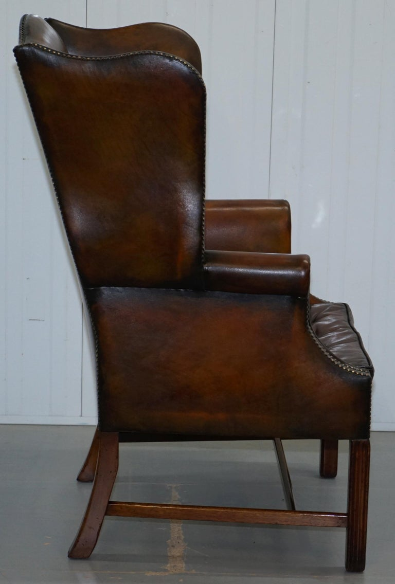 Pair of Georgian, circa 1820 Restored Hand Dyed Brown Leather Wingback Armchairs For Sale 5