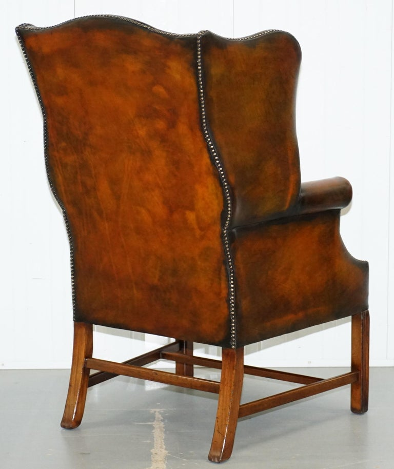 Pair of Georgian, circa 1820 Restored Hand Dyed Brown Leather Wingback Armchairs For Sale 6