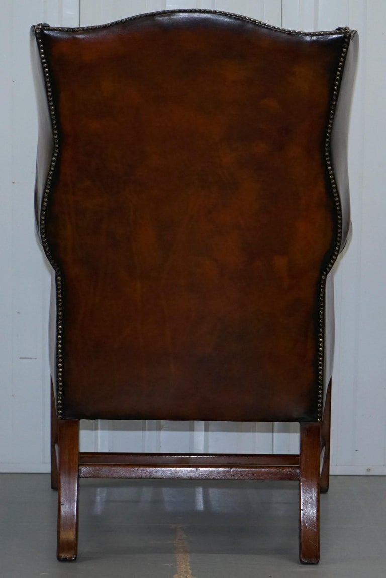 Pair of Georgian, circa 1820 Restored Hand Dyed Brown Leather Wingback Armchairs For Sale 7