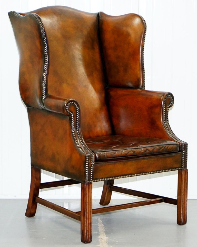 Pair of Georgian, circa 1820 Restored Hand Dyed Brown Leather Wingback Armchairs For Sale 8