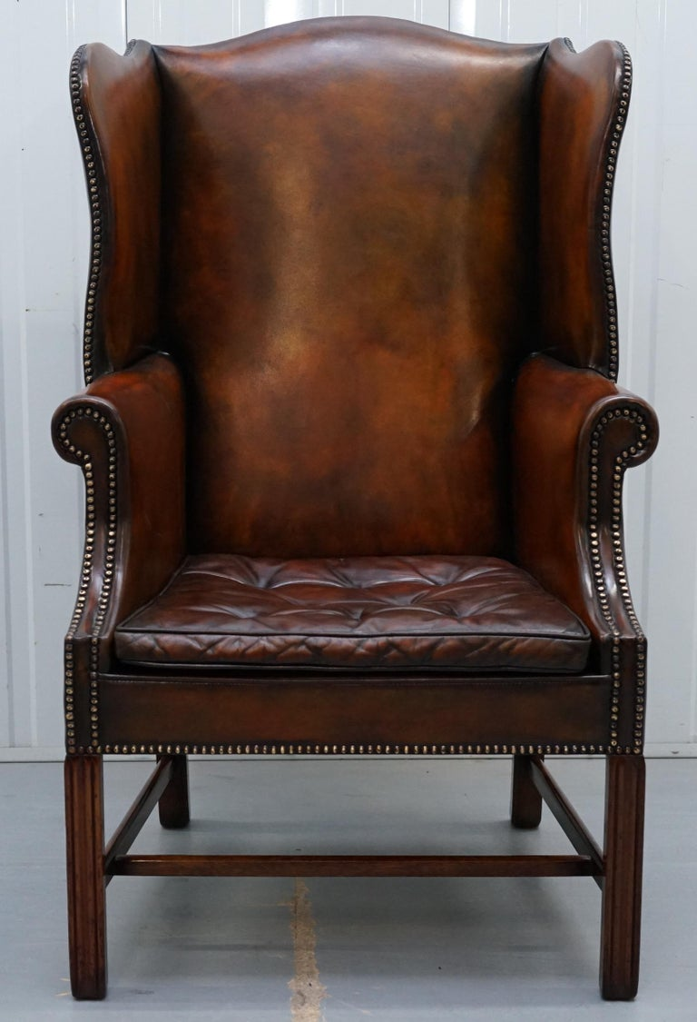 Pair of Georgian, circa 1820 Restored Hand Dyed Brown Leather Wingback Armchairs For Sale 9