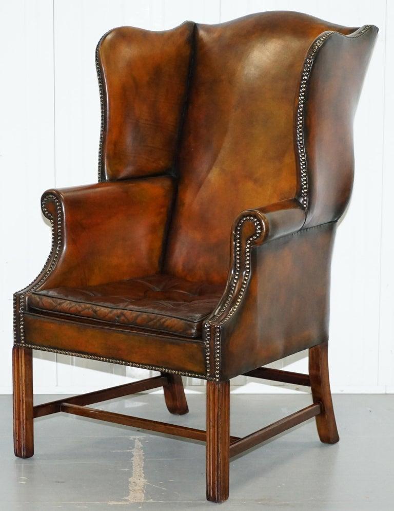 Pair of Georgian, circa 1820 Restored Hand Dyed Brown Leather Wingback Armchairs For Sale 10