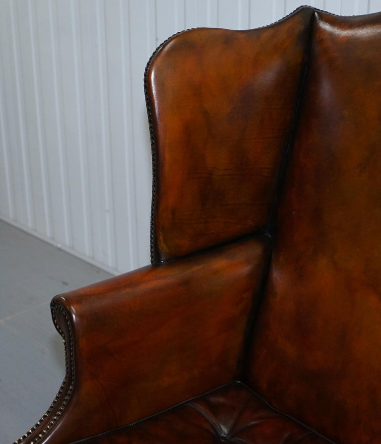 Pair of Georgian, circa 1820 Restored Hand Dyed Brown Leather Wingback Armchairs For Sale 11