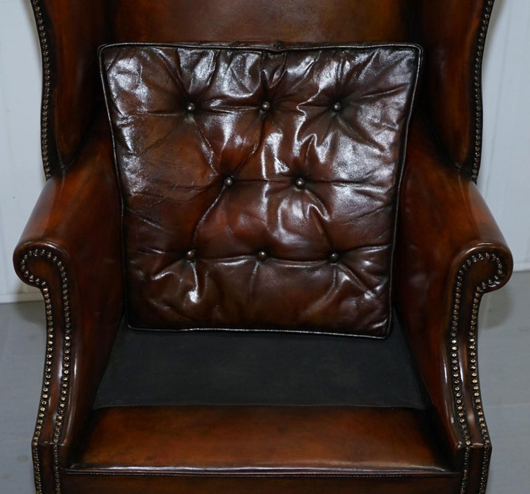 Pair of Georgian, circa 1820 Restored Hand Dyed Brown Leather Wingback Armchairs For Sale 13