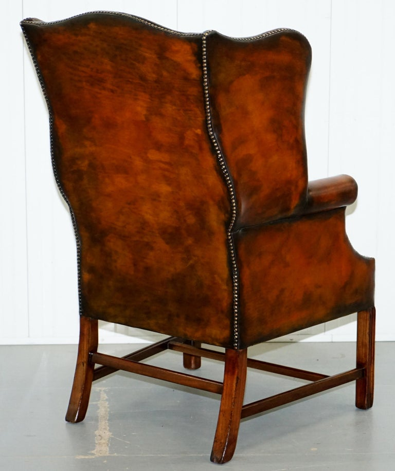 Pair of Georgian, circa 1820 Restored Hand Dyed Brown Leather Wingback Armchairs For Sale 14