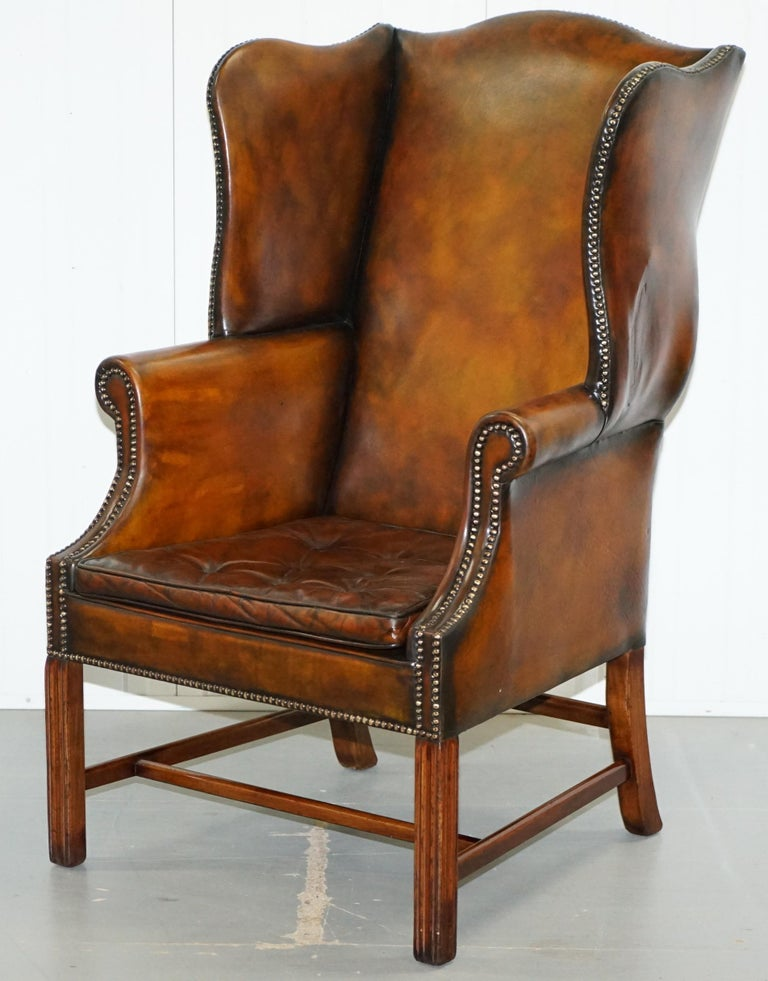 Hand-Carved Pair of Georgian, circa 1820 Restored Hand Dyed Brown Leather Wingback Armchairs For Sale
