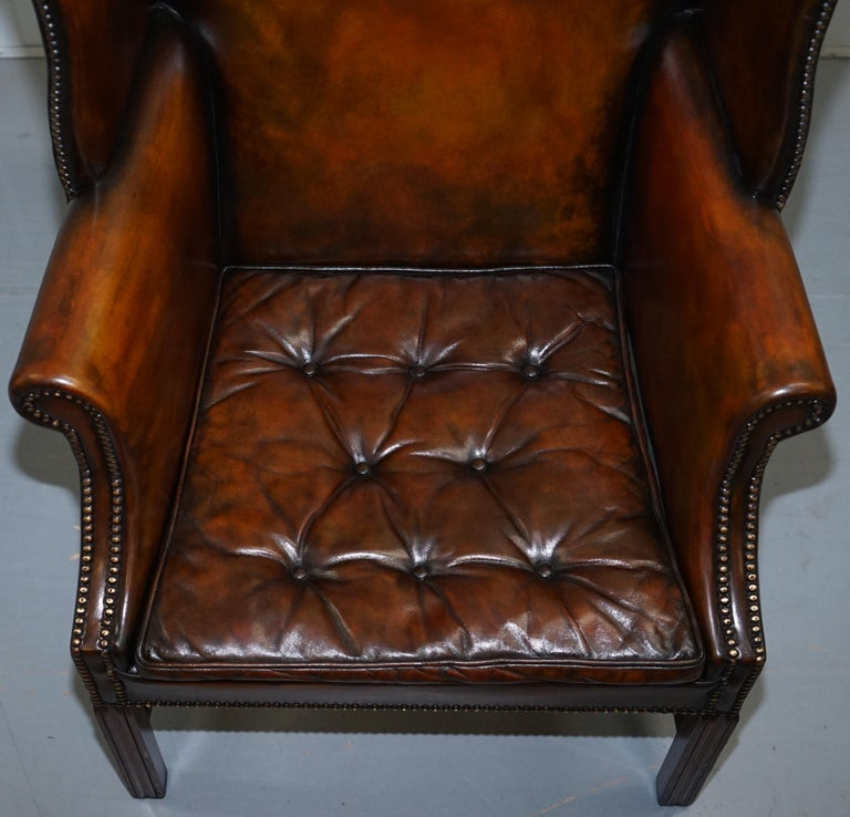 Pair of Georgian, circa 1820 Restored Hand Dyed Brown Leather Wingback Armchairs In Excellent Condition For Sale In London, GB
