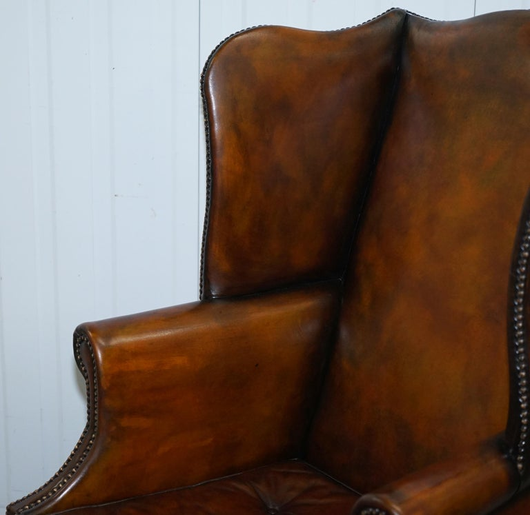 Early 19th Century Pair of Georgian, circa 1820 Restored Hand Dyed Brown Leather Wingback Armchairs For Sale