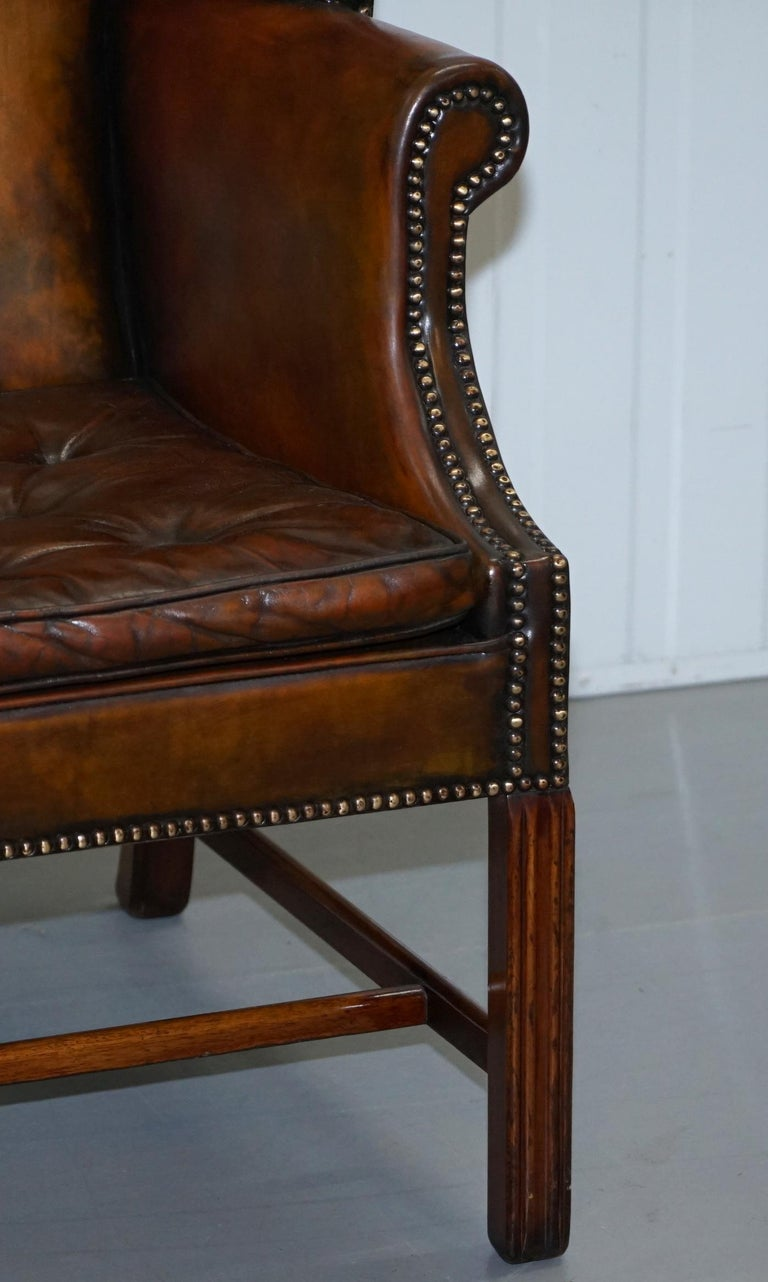 Pair of Georgian, circa 1820 Restored Hand Dyed Brown Leather Wingback Armchairs For Sale 1
