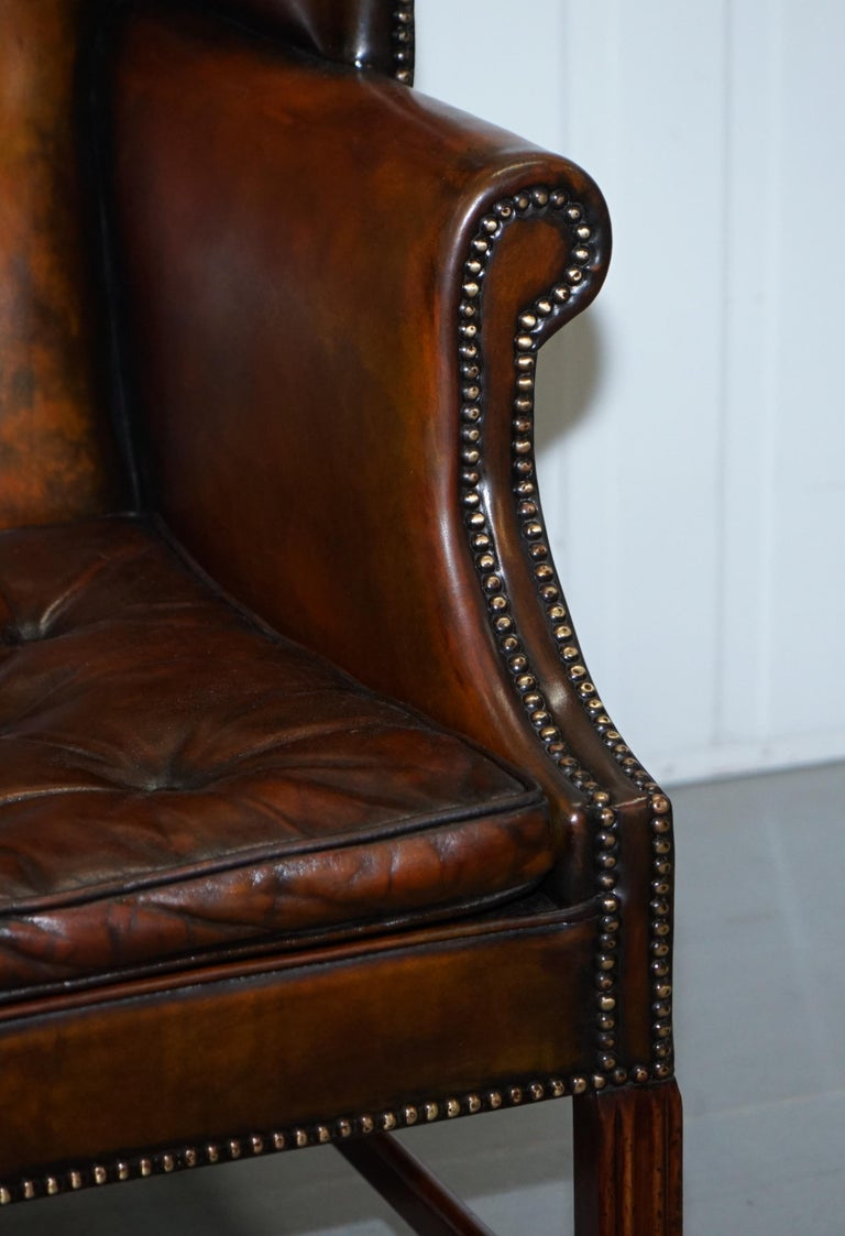 Pair of Georgian, circa 1820 Restored Hand Dyed Brown Leather Wingback Armchairs For Sale 2