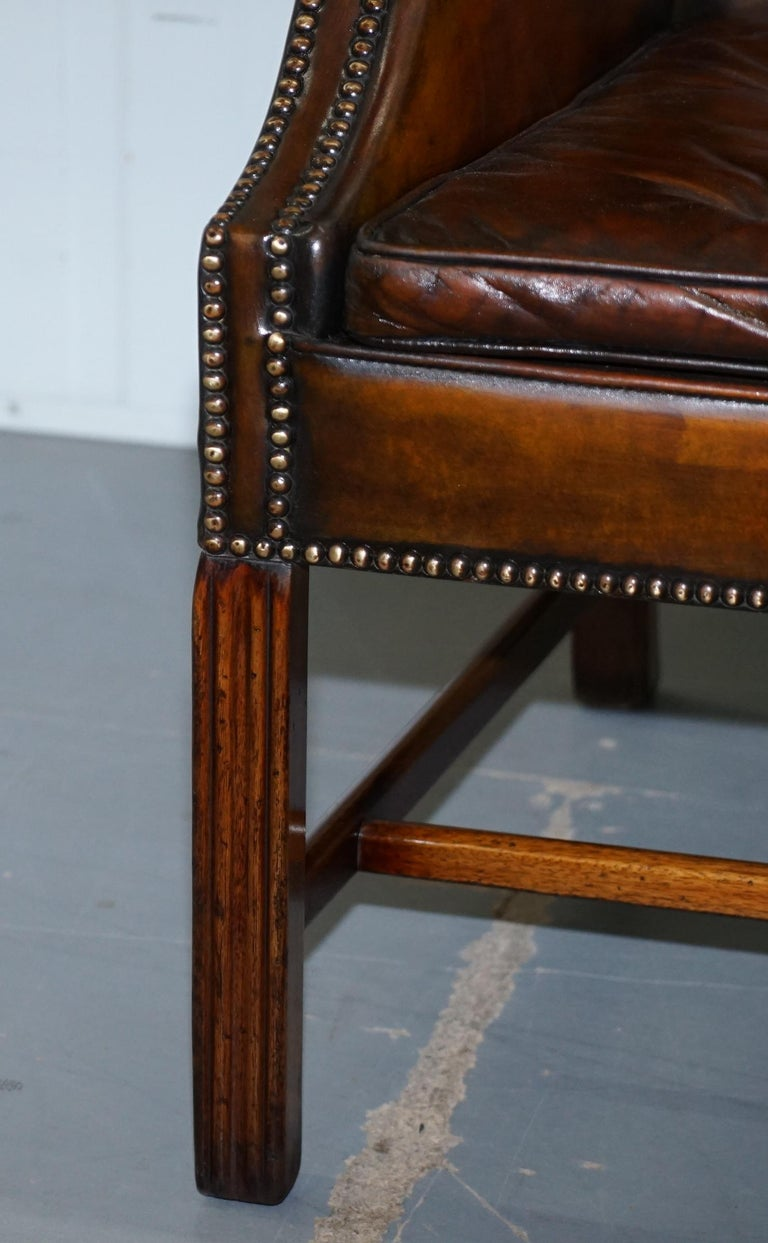 Pair of Georgian, circa 1820 Restored Hand Dyed Brown Leather Wingback Armchairs For Sale 3