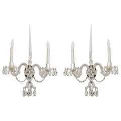 Pair of George III Style Crystal Sconces, Two Armed Sconces, Circa 1890