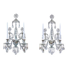 Pair of Georgian Crystal Sconces
