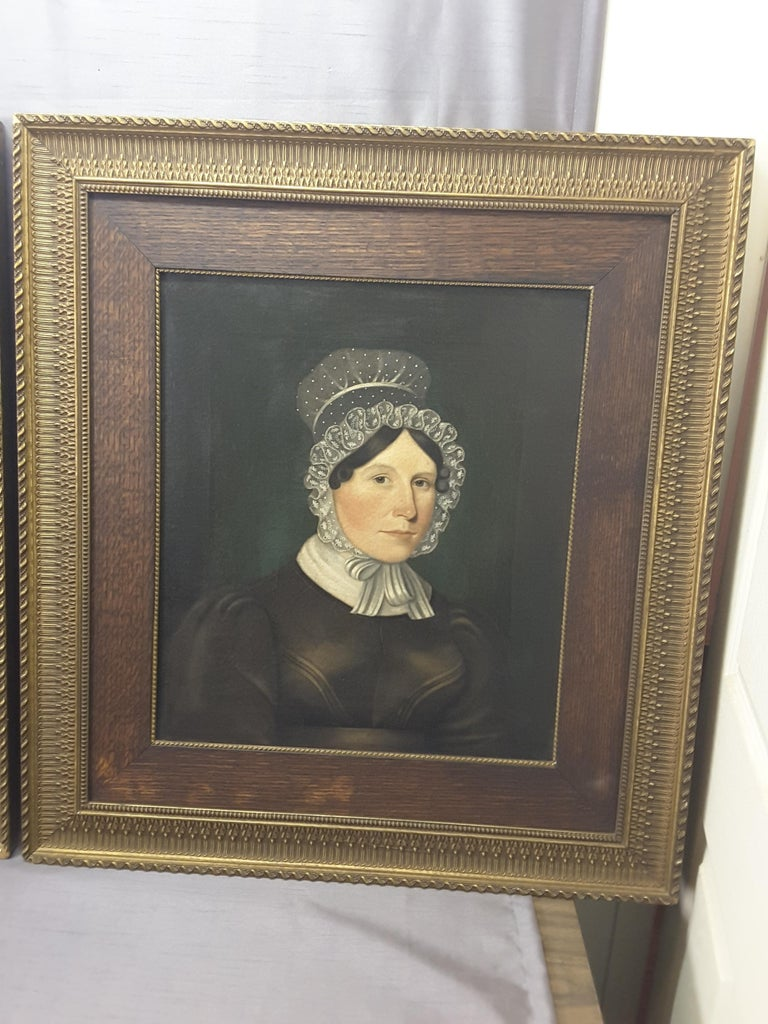 Hand-Painted Pair of Georgian English Portrait Paintings by Rev. Ben Hudson Dated 1828 & 1829 For Sale