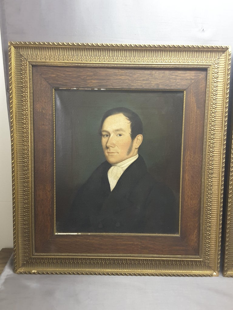 Pair of Georgian English Portrait Paintings by Rev. Ben Hudson Dated 1828 & 1829 In Good Condition For Sale In Ottawa, Ontario