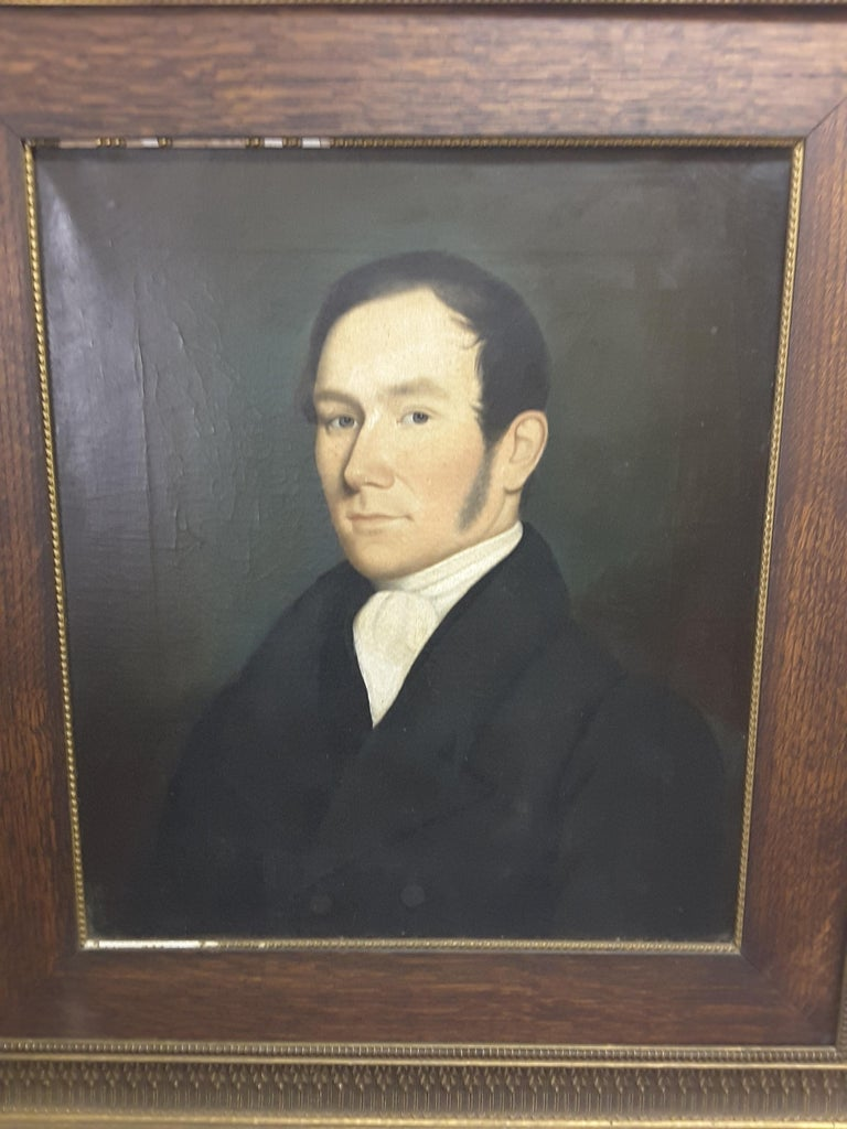 19th Century Pair of Georgian English Portrait Paintings by Rev. Ben Hudson Dated 1828 & 1829 For Sale