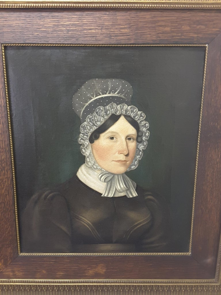 Pair of Georgian English Portrait Paintings by Rev. Ben Hudson Dated 1828 & 1829 For Sale 1
