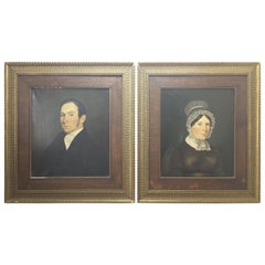 Pair of Georgian English Portrait Paintings by Rev. Ben Hudson Dated 1828 & 1829