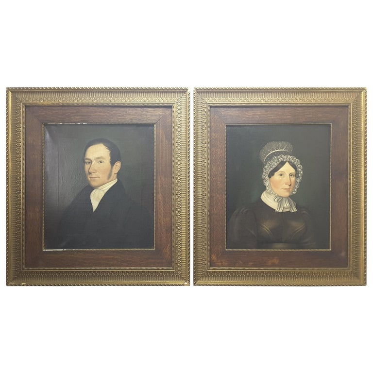 Pair of Georgian English Portrait Paintings by Rev. Ben Hudson Dated 1828 & 1829 For Sale